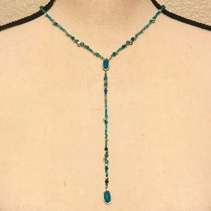 Kendra Scott Bethany Teal Agate Gold Y-Necklace